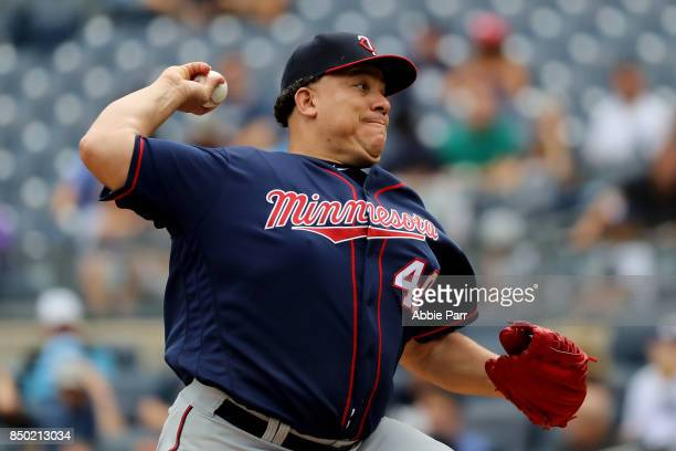 Bartolo Colon of the Minnesota Twins pitches during the first inning of a game against the New York Yankees on September 20 2017 at Yankee Stadium in...