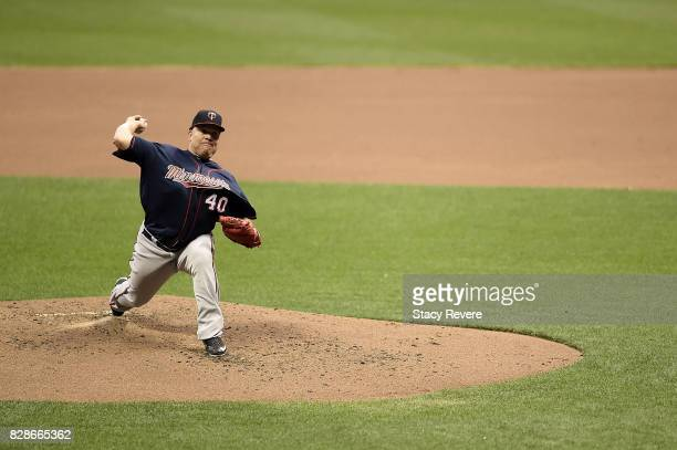 Bartolo Colon of the Minnesota Twins throws a pitch during the third inning of a game against the Milwaukee Brewers at Miller Park on August 9 2017...