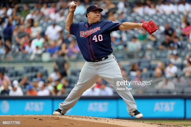 Bartolo Colon of the Minnesota Twins throws the ball in the first inning against the New York Yankees on September 20 2017 at Yankee Stadium in the...