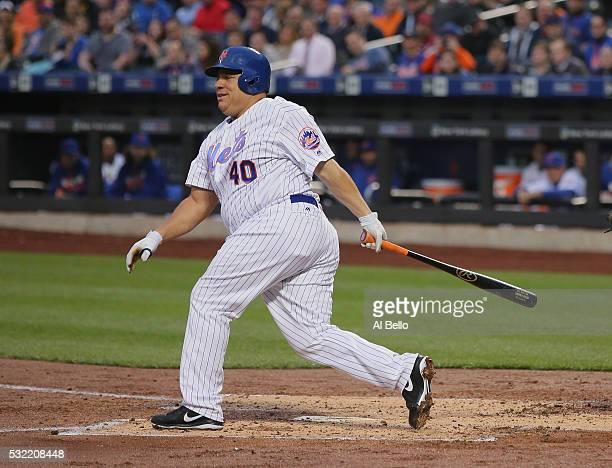 Bartolo Colon of the New York Mets bats against the Atlanta Braves during their game at Citi Field on May 2 2016 in New York City
