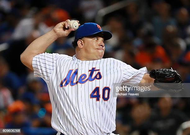 Bartolo Colon of the New York Mets delivers a pitch against the Atlanta Braves at Citi Field on September 21 2016 in the Flushing neighborhood of the...