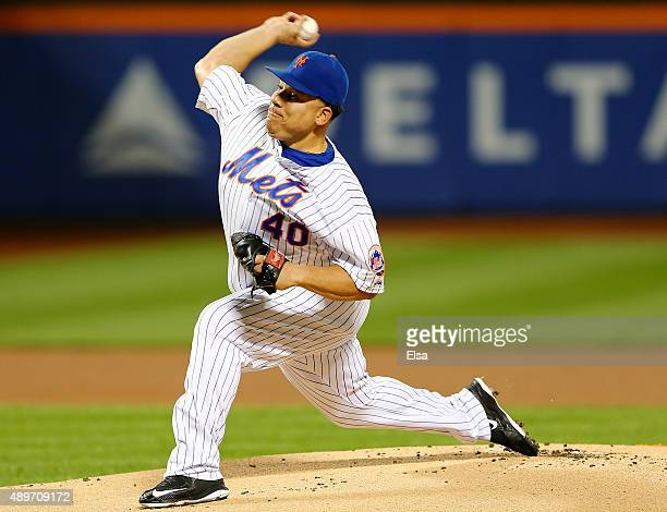 Bartolo Colon of the New York Mets delivers a pitch in the first inning against the Atlanta Braves on September 23 2015 at Citi Field in the Flushing...