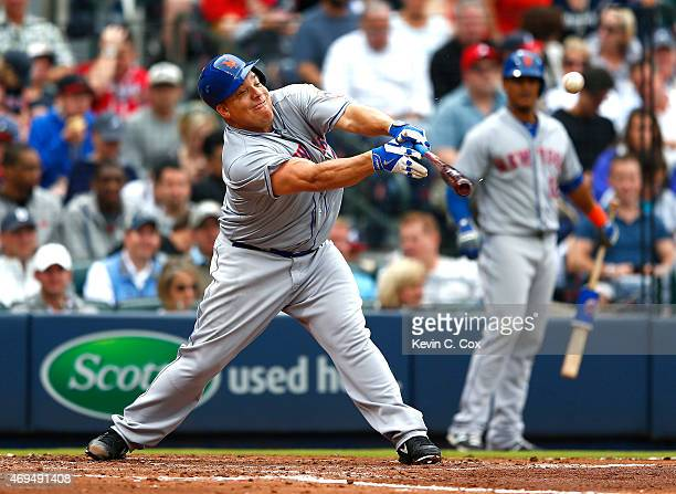 Bartolo Colon of the New York Mets hits a RBI single into right field against the Atlanta Braves during the Braves opening series at Turner Field on...