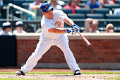 Bartolo Colon of the New York Mets hits a single in the fifth inning aganst the Philadelphia Phillies at Citi Field on May 25 2015 in Flushing...