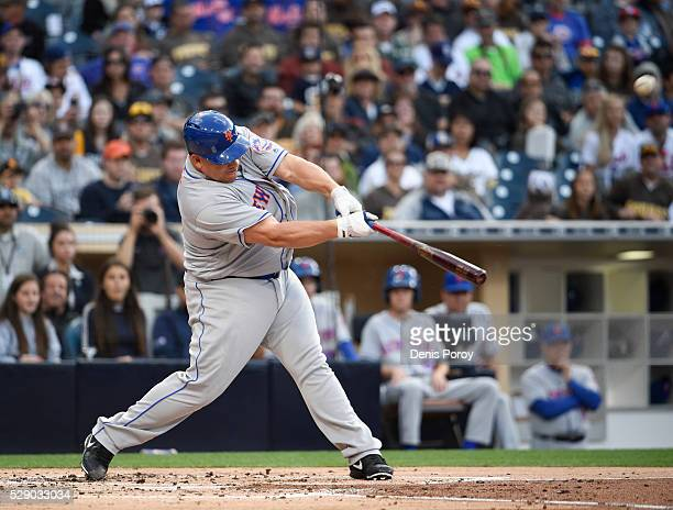Bartolo Colon of the New York Mets hits a twohome run during the second inning of a baseball game against the San Diego Padres at PETCO Park on May 7...