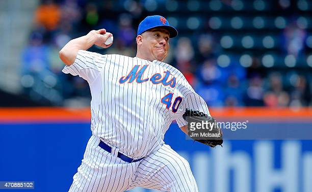 Bartolo Colon of the New York Mets in action against the Atlanta Braves at Citi Field on April 23 2015 in the Flushing neighborhood of the Queens...