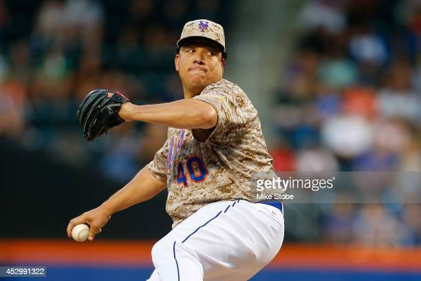 Bartolo Colon of the New York Mets in action against the Philadelphia Phillies on July 28 2014 at Citi Field in the Flushing neighborhood of the...