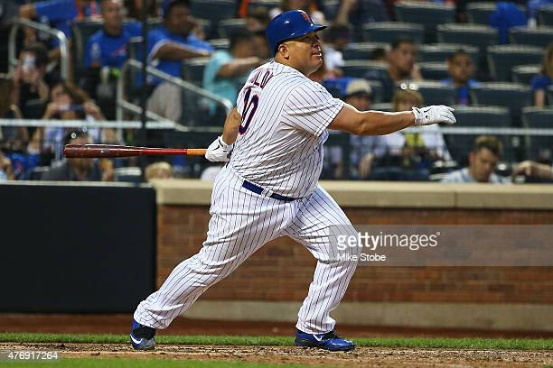 Bartolo Colon of the New York Mets lines out to center field for the third out in the fourth inning against the Atlanta Braves at Citi Field on June...