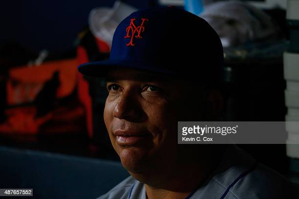 Bartolo Colon of the New York Mets looks on during the first inning against the Atlanta Braves at Turner Field on September 10 2015 in Atlanta Georgia