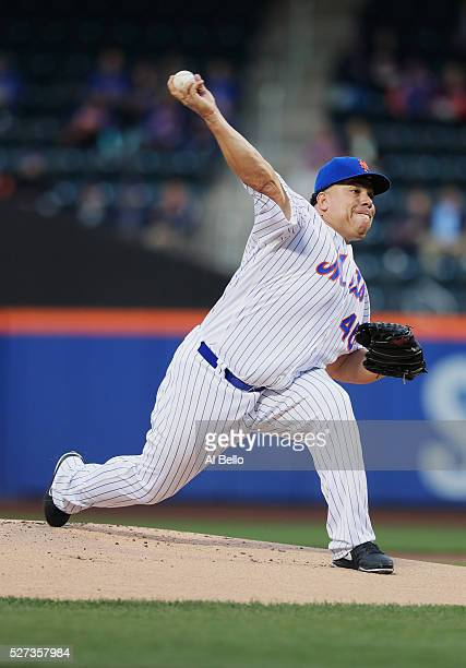 Bartolo Colon of the New York Mets pitches against the Atlanta Braves in the first inning during their game at Citi Field on May 2 2016 in New York...