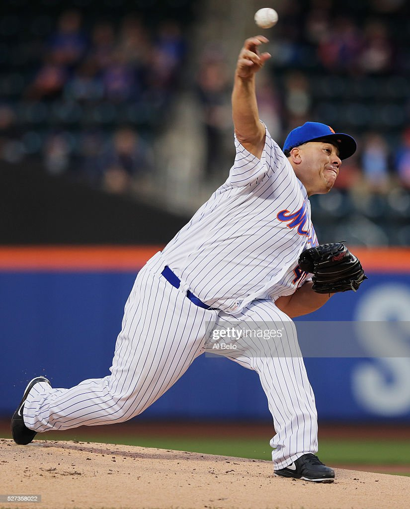 Bartolo Colon #40 of the New York Mets pitches against the Atlanta Braves in the first inning during their game at Citi Field on May 2, 2016 in New York City.