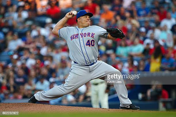 Bartolo Colon of the New York Mets pitches against the Atlanta Braves during the first inning at Turner Field on September 10 2016 in Atlanta Georgia