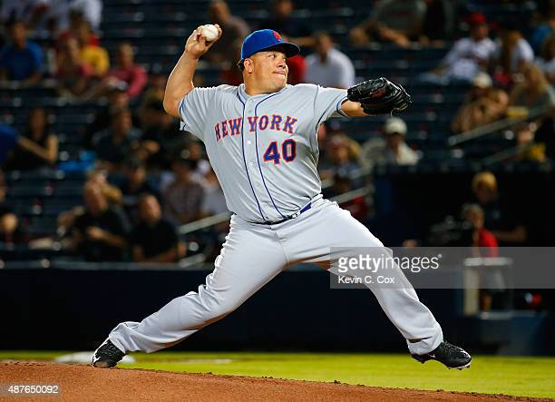Bartolo Colon of the New York Mets pitches in the first inning against the Atlanta Braves at Turner Field on September 10 2015 in Atlanta Georgia