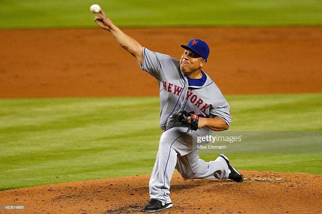 Bartolo Colon #40 of the New York Mets pitiches during a game against the Miami Marlins at Marlins Park on August 3, 2015 in Miami, Florida.