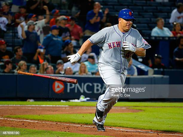 Bartolo Colon of the New York Mets reacts after hitting a RBI single in the fourth inning against the Atlanta Braves at Turner Field on September 10...