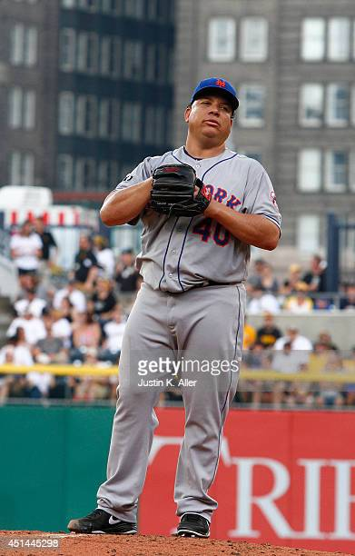 Bartolo Colon of the New York Mets reacts while giving up three runs and four hits in the first inning against the Pittsburgh Pirates during the game...