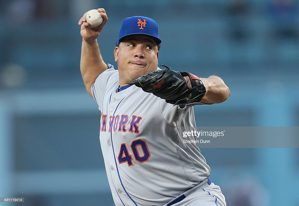 Bartolo Colon #40 of the New York Mets throws a pitch in the first inning against the Los Angeles Dodgers at Dodger Stadium on May 12, 2016 in Los Angeles, California.