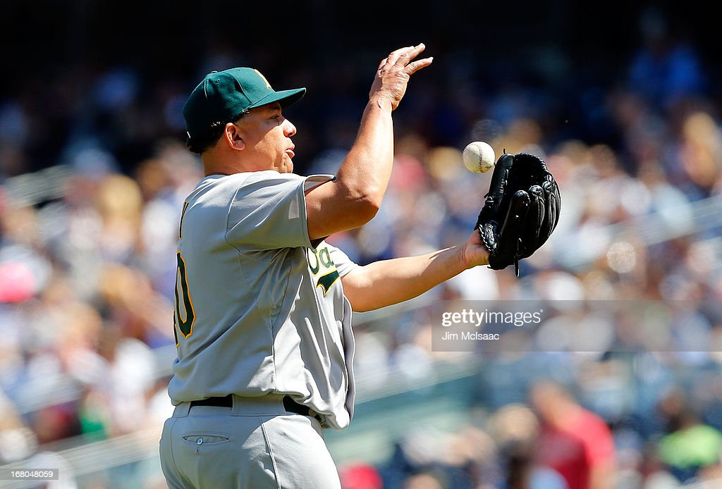 <a gi-track='captionPersonalityLinkClicked' href=/galleries/search?phrase=Bartolo+Colon&family=editorial&specificpeople=175812 ng-click='$event.stopPropagation()'>Bartolo Colon</a> #40 of the Oakland Athletics in action against the New York Yankees at Yankee Stadium on May 4, 2013 in the Bronx borough of New York City. The Yankees defeated the A's 4-2.
