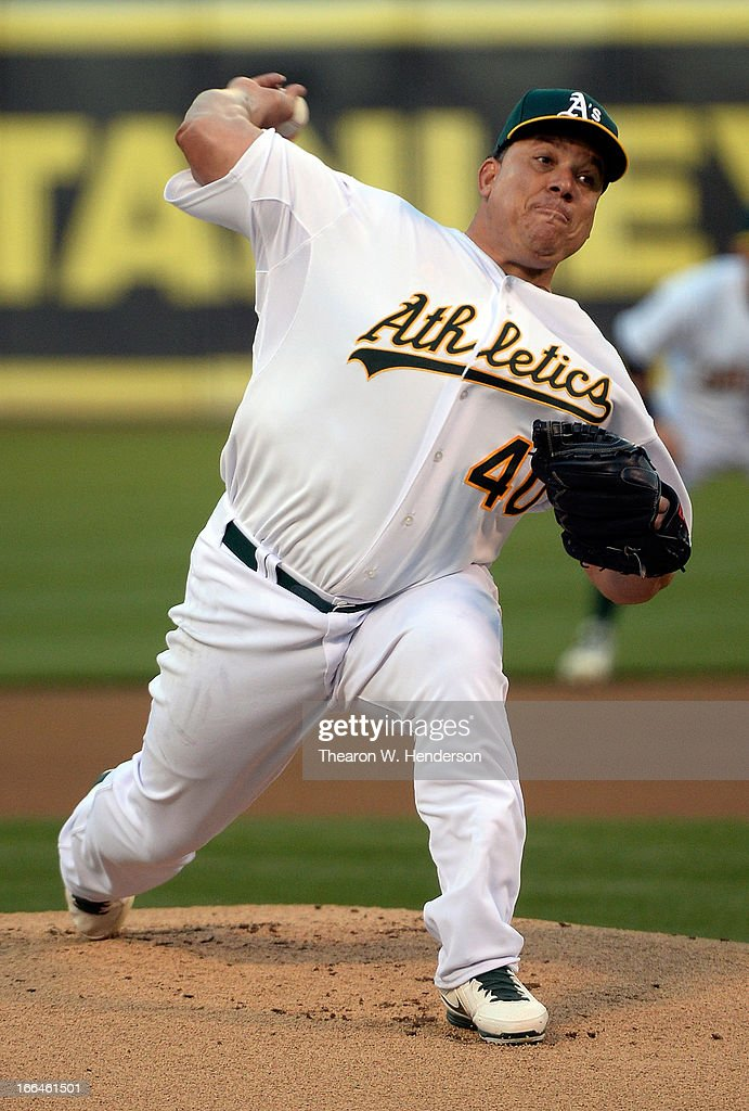 <a gi-track='captionPersonalityLinkClicked' href=/galleries/search?phrase=Bartolo+Colon&family=editorial&specificpeople=175812 ng-click='$event.stopPropagation()'>Bartolo Colon</a> #40 of the Oakland Athletics pitches against the Detroit Tigers in the first inning at O.co Coliseum on April 12, 2013 in Oakland, California.