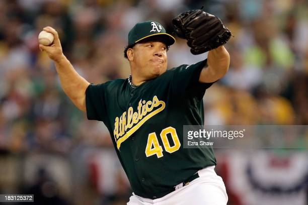 Bartolo Colon of the Oakland Athletics throws a pitch in the first inning against the Detroit Tigers during Game One of the American League Division...