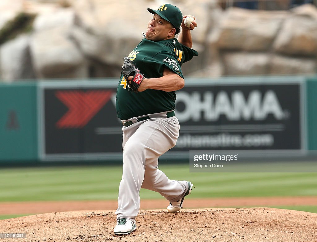 <a gi-track='captionPersonalityLinkClicked' href=/galleries/search?phrase=Bartolo+Colon&family=editorial&specificpeople=175812 ng-click='$event.stopPropagation()'>Bartolo Colon</a> #40 of the Oakland Athletics throws a ptich against the Los Angeles Angels of Anaheim at Angel Stadium of Anaheim on July 21, 2013 in Anaheim, California. Colon ptiched a complete game shutout as the Athletics won 6-0.