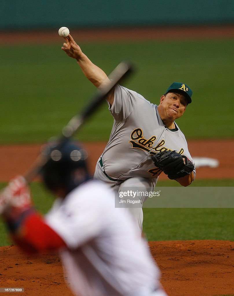 <a gi-track='captionPersonalityLinkClicked' href=/galleries/search?phrase=Bartolo+Colon&family=editorial&specificpeople=175812 ng-click='$event.stopPropagation()'>Bartolo Colon</a> #40 of the Oakland Athletics throws against the the Boston Red Sox at Fenway Park on April 23, 2013 in Boston, Massachusetts.