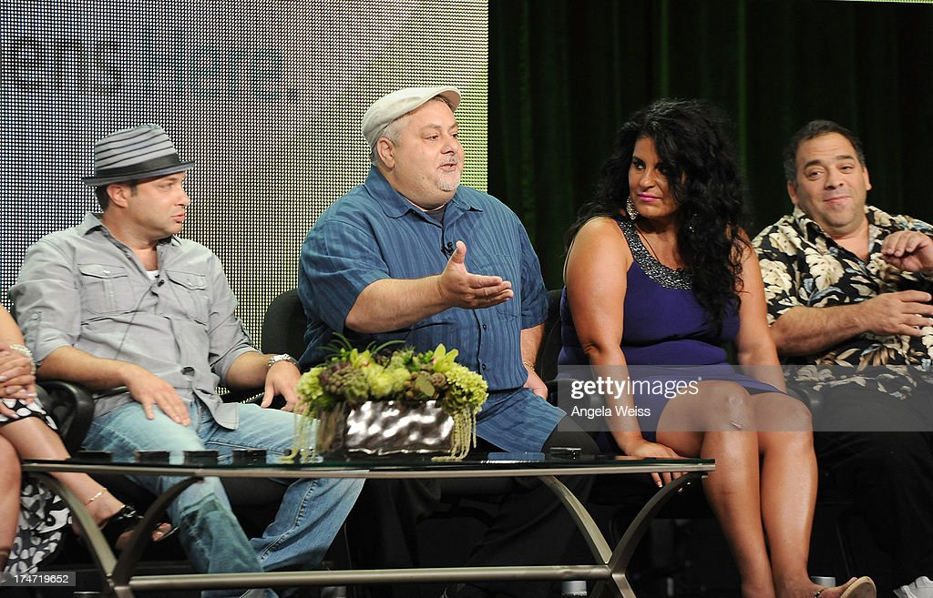 Bartolomeo Tumbarello, Carmine Perelli, Madeline Santarelli and Jeff Vercillo speak onstage during 'The Capones' panel discussion at the ReelzChannel portion of the 2013 Summer Television Critics Association tour at The Beverly Hilton Hotel on July 28, 2013 in Beverly Hills, California.