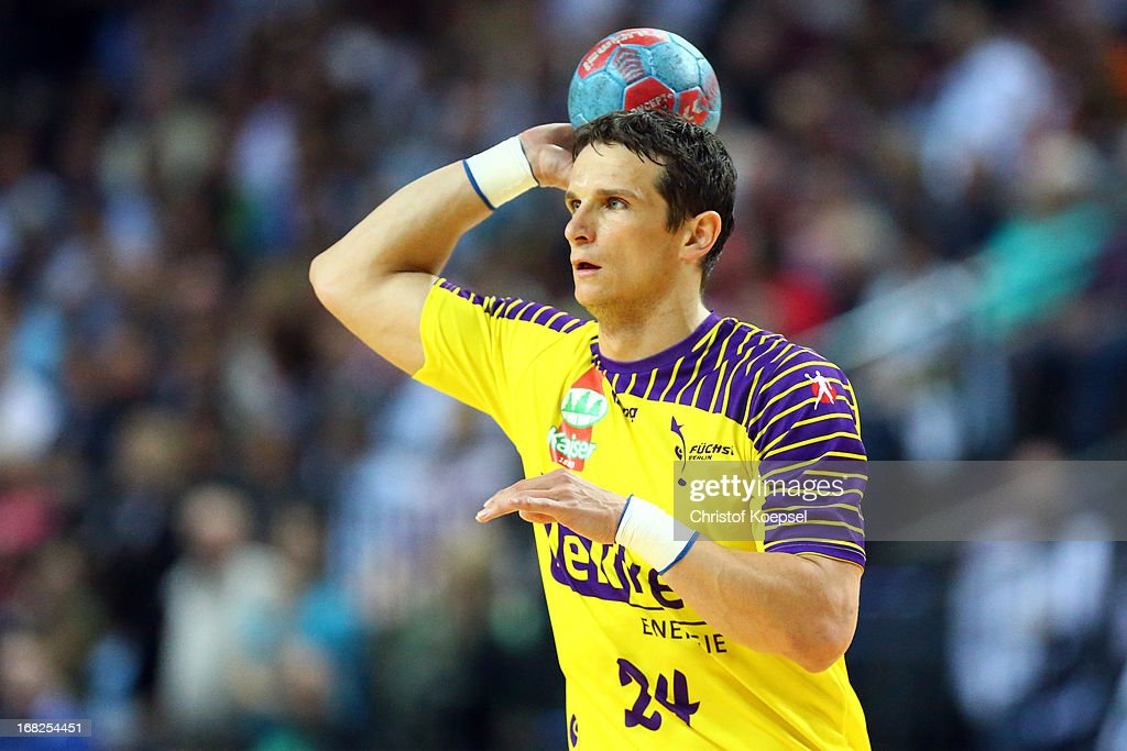 Bartolomiej Jaszka of Berlin passes the ball during the DKB Handball Bundesliga match between HSG Wetzlar and Fuechse Berlin at Rittal Arena on May 7, 2013 in Wetzlar, Germany.