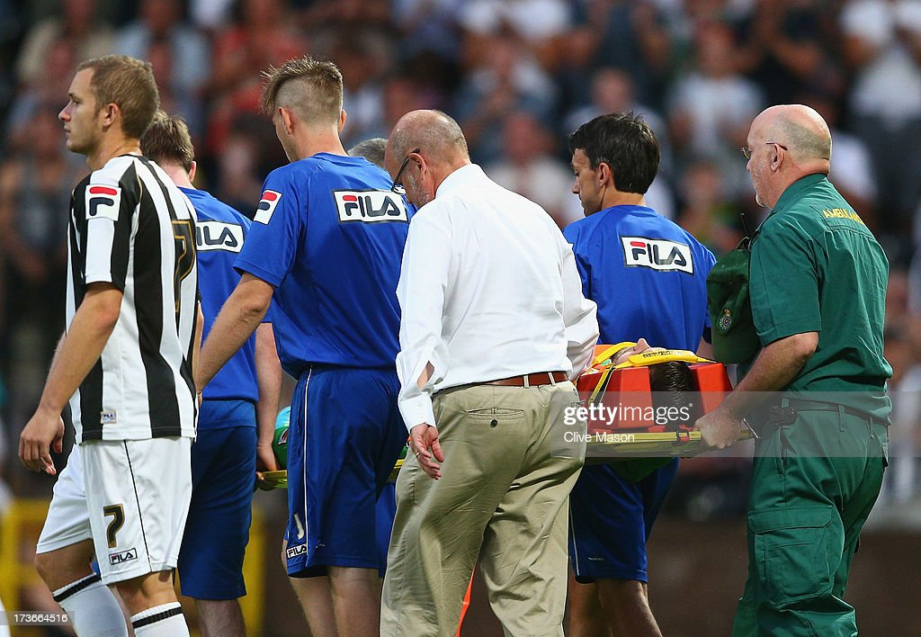 Bartosz Bialkowski of Notts County is injured and stretchered off during the pre season friendly match between Notts County and Galatasaray at Meadow Lane on July 16, 2013 in Nottingham, England.