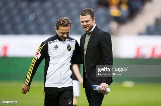 Bartosz Grzelak assistant coach of AIK and Jimmy Thelin head coach of Jonkopings Sodra ahead of the Allsvenskan match between AIK and Jonkopings...