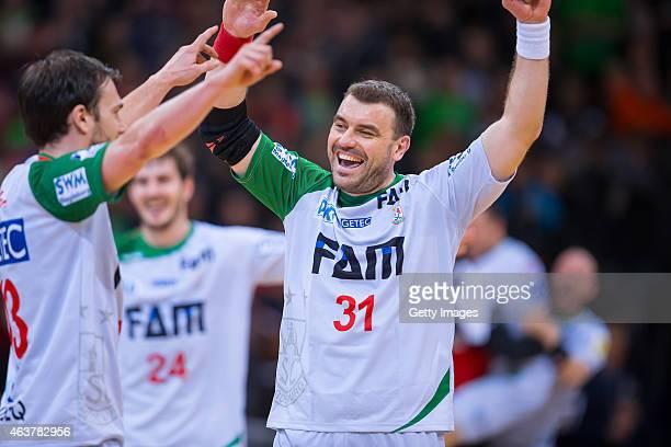 Bartosz Jurecki and Jure Natek of Magdeburg celebrating after the Handball Bundesliga match between SG FlensburgHandewitt and SC Magdeburg on...