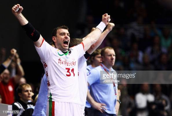 Bartosz Jurecki of Magdeburg celebrates during the Toyota Handball Bundesliga match between SC Magdeburg and THW Kiel at the Boerdeland Hall on May 4...