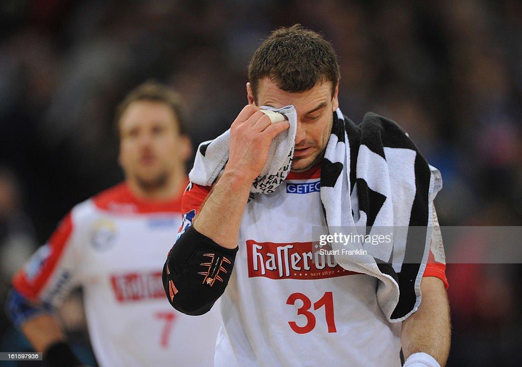 Bartosz Jurecki of Magdeburg looks dejected during the Bundesliga match between Hamburger SV and SC Magdeburg at the O2 world on February 12, 2013 in Hamburg, Germany.