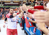 Bartosz Jurecki of Poland greets fans at the end of the Qatar 2015 24th Men's Handball World Championship Round of 16 match between Poland and Sweden...