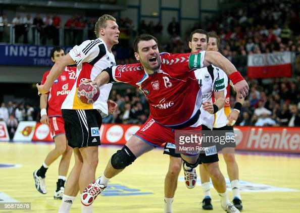Bartosz Jurecki of Poland throws at goal during the Men's Handball European Championship Group C match between Germany and Poland at the Olympia Hall...