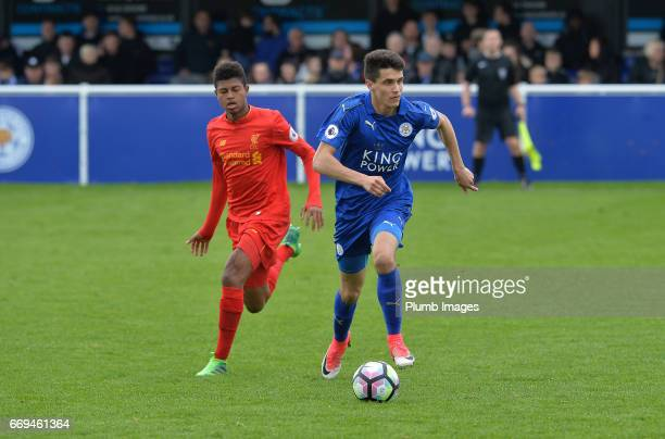 Bartosz Kapustka of Leicester City against Rhian Brewster of Liverpool during the game between Leicester City and Liverpool Premier League 2 match at...