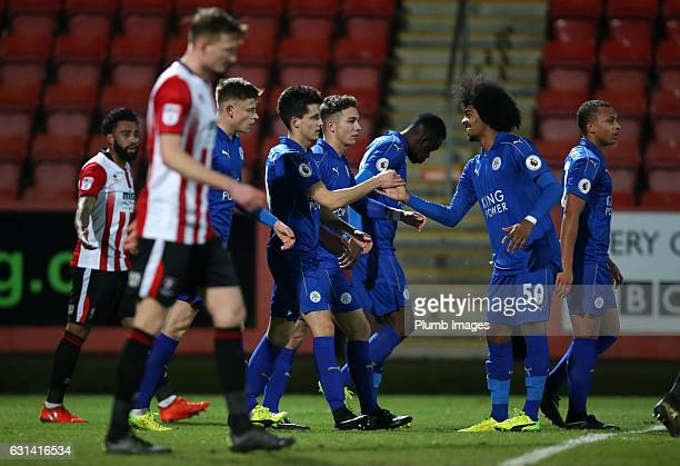Bartosz Kapustka of Leicester City celebrates after scoring to make it 11 during the EFL Checkatrade Trophy Second Round tie between Cheltenham Town...