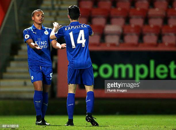 Bartosz Kapustka of Leicester City celebrates with Layton Ndukwu of Leicester City after scoring to make it 11 during the EFL Checkatrade Trophy...