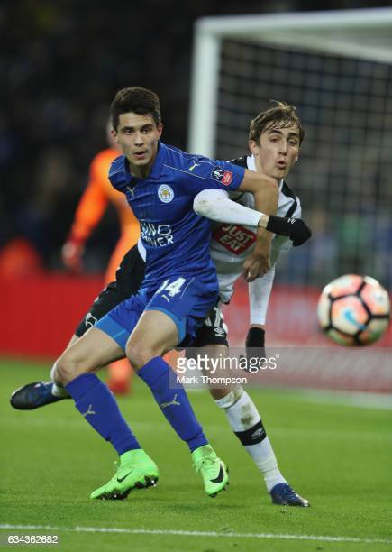 Bartosz Kapustka of Leicester City tangles with Julien De Sart of Derby County during The Emirates FA Cup Fourth Round Replay beteween Leicester City...