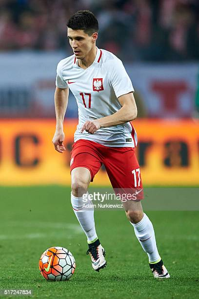 Bartosz Kapustka of Poland controls the ball during the international friendly soccer match between Poland and Serbia at the Inea Stadium on March 23...