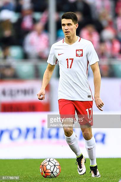 Bartosz Kapustka of Poland controls the ball during the international friendly soccer match between Poland and Finland at the Municipal Stadium on...
