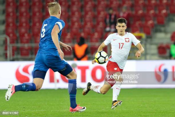 Bartosz Kapustka of Poland during the 2019 UEFA European Under21 Championship qualification game between Poland and Finland on October 6 2017 in Lodz...