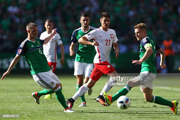 Bartosz Kapustka of Poland in action during the UEFA EURO 2016 Group C match between Poland and Northern Ireland at Allianz Riviera Stadium on June...