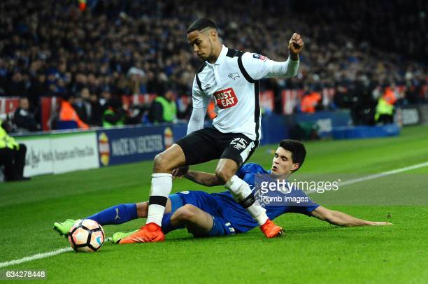 Bartosz Kaputska of Leicester City in action with Max Lowe of Derby County during the Emirates FA Cup Fourth Round Replay match between Leicester...