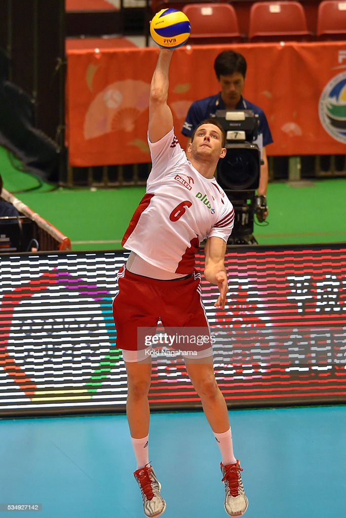 Bartosz Kurek #6 of Poland serves the ball during the Men's World Olympic Qualification game between Poland and Canada at Tokyo Metropolitan Gymnasium on May 28, 2016 in Tokyo, Japan.