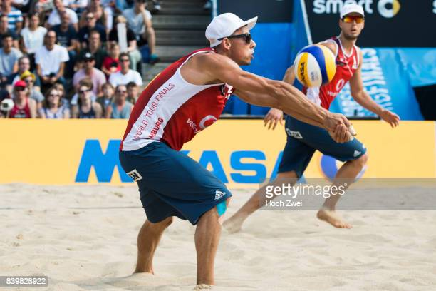 Bartosz Losiak and Piotr Kantor of Poland in action during Day 5 of the Swatch Beach Volleyball FIVB World Tour Finals Hamburg 2017 on August 27 2017...