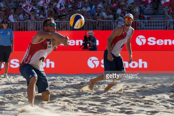 Bartosz Losiak and Piotr Kantor of Poland in action during Day 9 of the FIVB Beach Volleyball World Championships 2017 on August 5 2017 in Vienna...