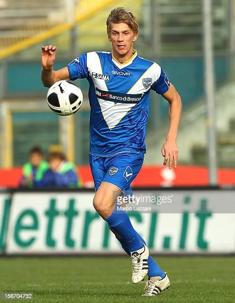 Bartosz Salamon of Brescia Calcio in action during the Serie B match between Brescia Calcio and US Sassuolo at Mario Rigamonti Stadium on November 18...