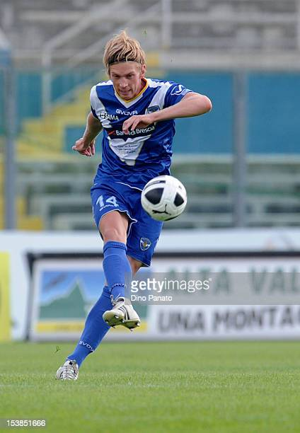 Bartosz Salamon of Brescia in action during the Serie B match between Brescia and Virtus Lanciano at Mario Rigamonti Stadium on October 6 2012 in...