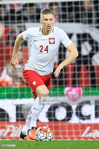 Bartosz Salamon of Poland controls the ball during the international friendly soccer match between Poland and Finland at the Municipal Stadium on...